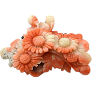SOLD Victorian Carved Coral Pin With Sterling