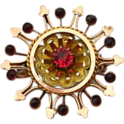 Victorian Era Gold Filled Pendant With Rose Cut Bohemian Garnets