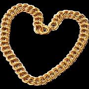 Vintage Hallmarked 12K Gold Filled Double Link Charm Bracelet
