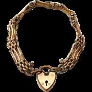 SOLD Victorian Era Gate Link Gold Filled Bracelet with Heart Padlock