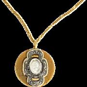 Vintage Reverse Carved Intaglio Cameo Necklace, Very Ornate