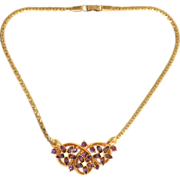 Vintage Gold Toned Purple Amethyst Rhinestone Choker Necklace