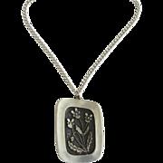 Vintage Mid Century Modern R. Tennesmed SWEDEN Pewter Pendant Necklace