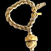 Vintage Signed MONET Gold Tone Triple Link Chain Bracelet, Dangling Acorn Charm