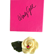 Vintage Signed WENDY GELL Cream Flower Pin With Watermelon Ball, Original Box