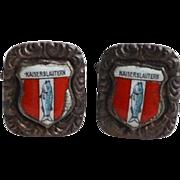 Vintage EPNS Kaiserslautern Travel Shield Souvinir Cufflinks Cuff Links, Germany ElectroPlated