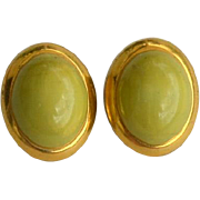 SALE Vintage Signed ITALY Yellow Green Glass Clip Earrings