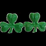 SALE Early Celluloid Green Three Leaf Clover Screw Earrings