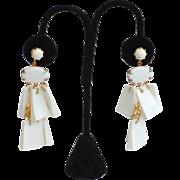 SALE Vintage Shoulder Duster White Modernist Clip Earrings
