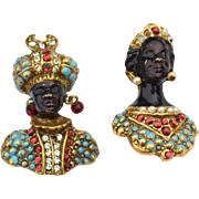 SALE RARE Vintage Signed CORO Blackamoor Prince and Princess Pins, Turquoise Enameling and Fau
