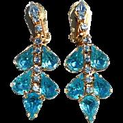 SALE Vintage Glitzy Blue Rhinestone Dangling Clip Earrings