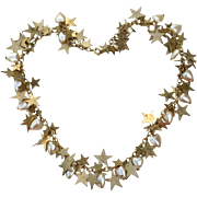 Vintage Gold Tone Metal Star and Heart Shaped Faux Pearl Necklace