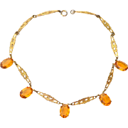 SALE Early Art Deco Filigree Necklace with Citrine Colored Glass Stones