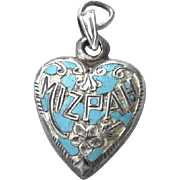 SOLD Victorian Era MIZPAH Sterling Silver Puffy Heart Charm, Turquoise Enameling