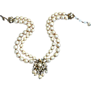 SALE Vintage Signed Robert DEMARIO Faux Baroque Pearl Necklace, Seed Pearls Rose Montee ...