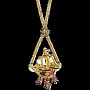 SALE Amazing Signed SPHINX Large Enameled Dangling Ship Necklace