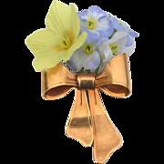 SALE Vintage 1980 Signed AVON Flower Bouquet Bow Pin