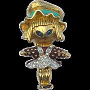 SALE Rare JOMAZ Girl Scarecrow Pin, Enamel and Rhinestones