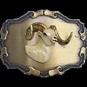 SOLD Vintage Raintree 1977 Belt Buckle, Enameled Ram Head With Horns