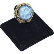 Vintage Signed WHITING & DAVIS Cats Eye Glass Stone Ring