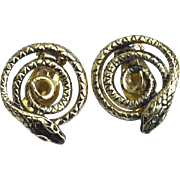 Vintage Signed WHITING & DAVIS Coiled Snake Clip Earrings
