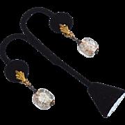 SALE Early Dangling Gold Fleck Glass Bead Clip Earrings