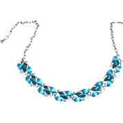 Vintage Shades of Blue Lucite Thermoset Panel Necklace