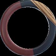 SALE Vintage Chocolate, Black and Wood Bangle Bracelet