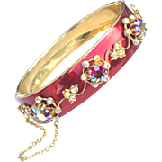 SALE Hard To Find Vintage Signed CORO Pegasus Rhinestone and Enamel Bracelet