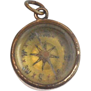 SOLD Victorian Era Gold Filled Bloodstone Compass Watch Fob