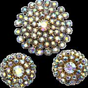 SALE Vintage Aurora Borealis Rhinestone Demi Parure, Pin and Clip Earrings