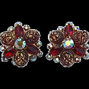 SALE Oversized Signed BEAU JEWELS Red Rhinestone Clip Earrings