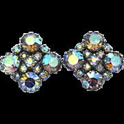 SALE Vintage Aurora Borealis Rhinestone Clip Earrings