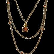Vintage Signed GOLDETTE Triple Strand Reverse Carved Intaglio Cameo Necklace