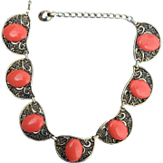 SALE Vintage Coral Colored Cab Ornate Choker Necklace