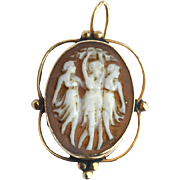 "Victorian Era Hallmarked 14K GOLD Cameo Earring / Pendant ""The Three Graces"""