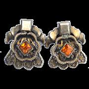 SALE Early Diamond Shape Citrine Colored Rhinestone Paste Earrings, Very Ornate