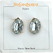SALE Vintage Signed YVES SAINT LAURENT Oval Headlight Rhinestone Earrings, Original Card