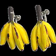 SALE Super Fun Early Vintage Banana Bunch Earrings, Very Realistic