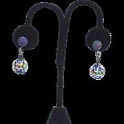 SALE Early Vintage Cobalt Blue Wedding Cake Glass Bead Earrings