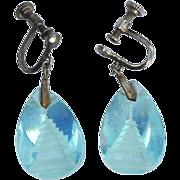 SALE Early Vintage Reverse Carved Crystal Pagoda Earrings