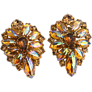 SALE Fabulous Vintage Aurora Borealis Rhinestone Clip Earrings