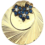 Vintage BOUCHER Circle Pin With Sapphire Blue Colored Rhinestones