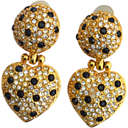 Vintage Signed JOAN RIVERS Clear and Black Rhinestone Heart Shaped Drop Earrings