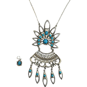 "Vintage Oversized Faux Turquoise Drop Necklace, Original Box, Extra Charm,  5 5/8"" Long"