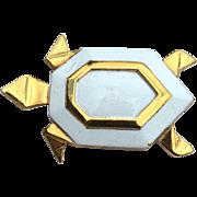 Vintage Signed CROWN TRIFARI Geometric Enamel Turtle Pin