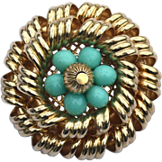 Vintage Signed NAPIER Turquoise Colored Glass Beads and Gold Toned Metal Tiered Pin