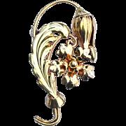 Vintage Signed CARL ART 12K Gold Filled On Sterling Silver Flower Pin