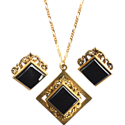 SALE Ornate Vintage Gold Tone and Hematite Stone Demi, Necklace and Earrings