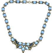 SALE Early Vintage Blue Glass Moonstone and Enamel Necklace, 1930's